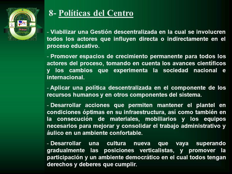 8- Políticas del Centro