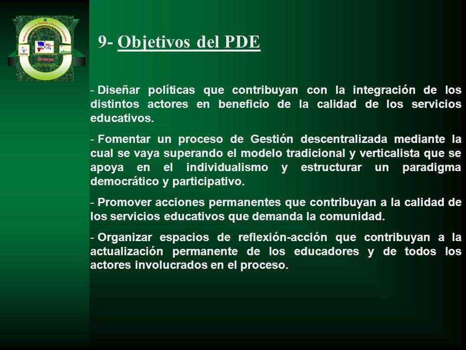 9- Objetivos del PDE