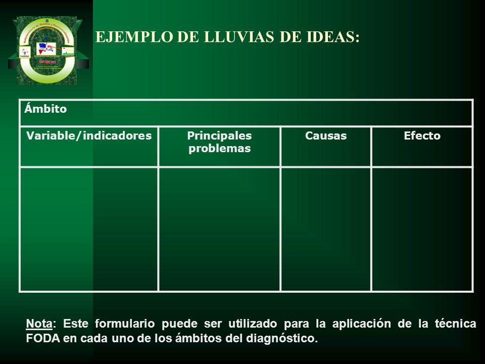 EJEMPLO DE LLUVIAS DE IDEAS: