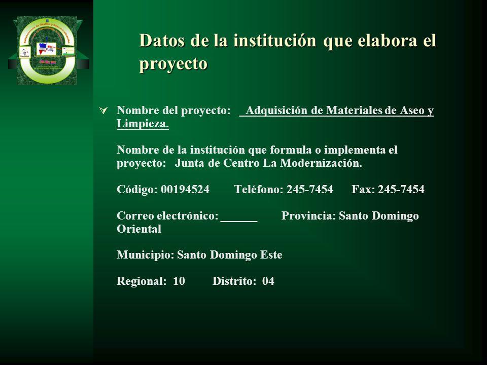 Datos de la institución que elabora el proyecto