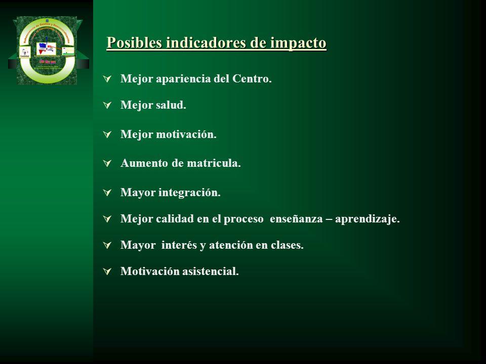 Posibles indicadores de impacto