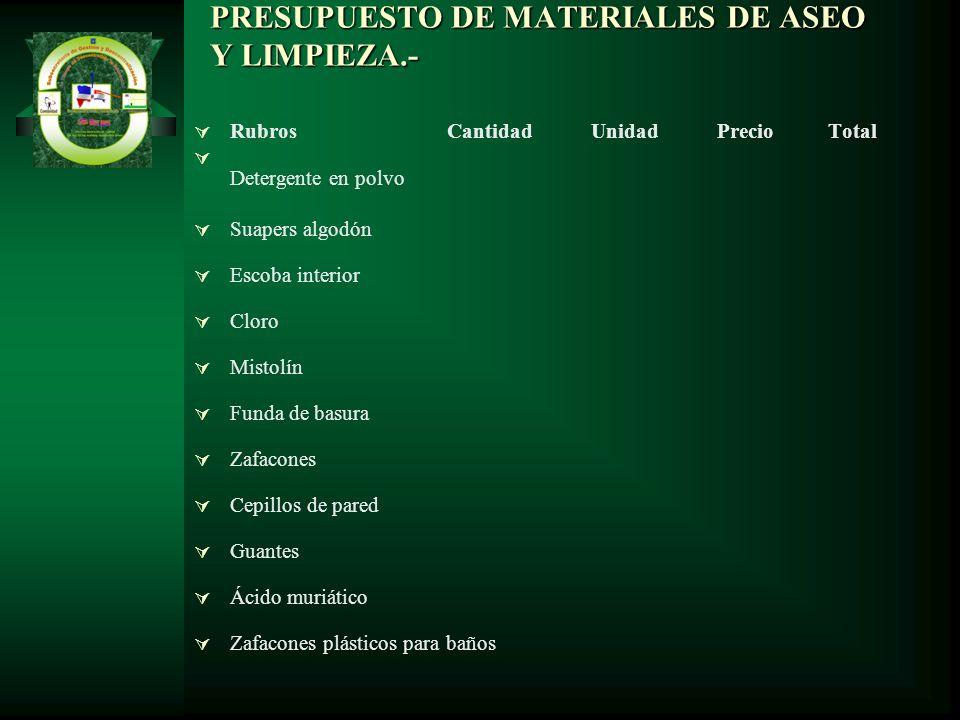 PRESUPUESTO DE MATERIALES DE ASEO Y LIMPIEZA.-