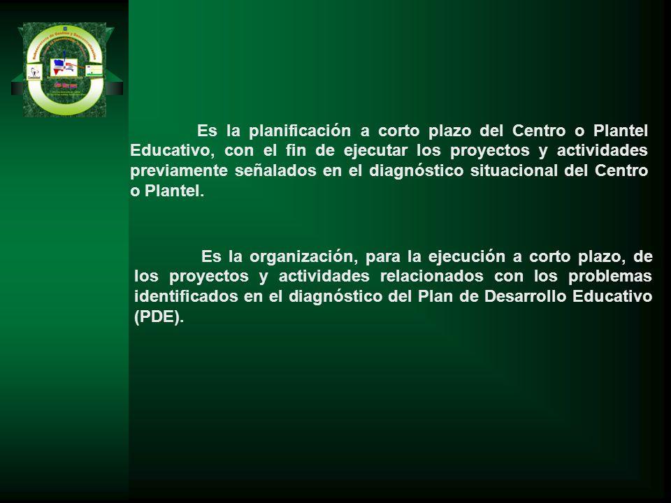 Es la planificación a corto plazo del Centro o Plantel Educativo, con el fin de ejecutar los proyectos y actividades previamente señalados en el diagnóstico situacional del Centro o Plantel.