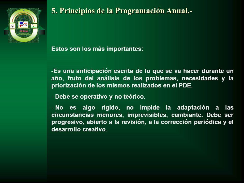 5. Principios de la Programación Anual.-