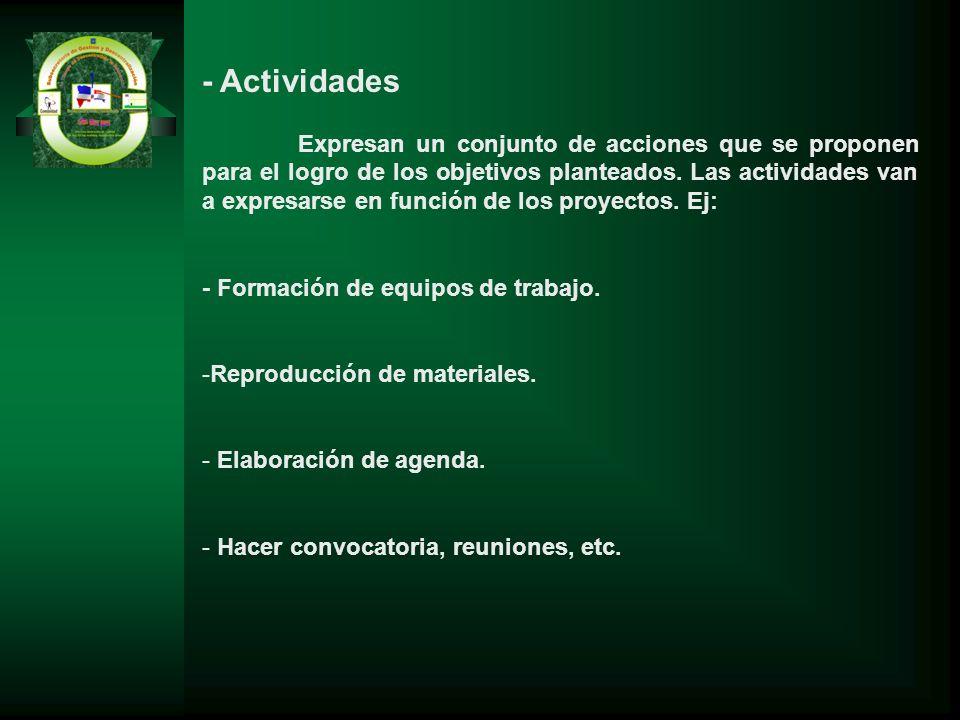 - Actividades