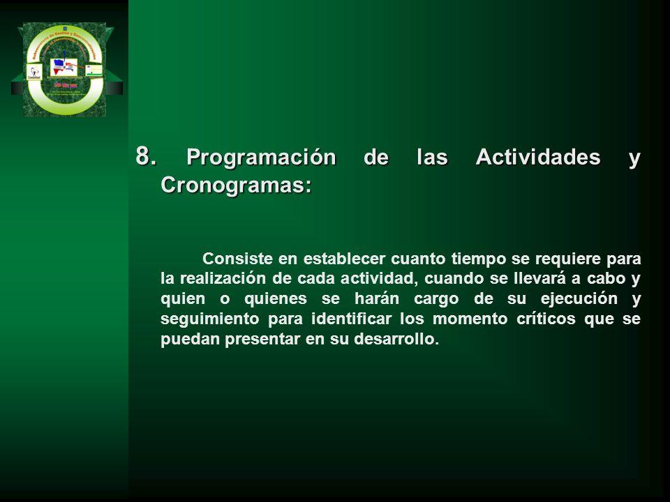 8. Programación de las Actividades y Cronogramas: