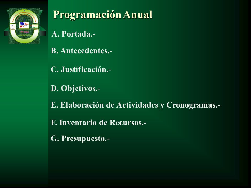 Programación Anual A. Portada.- B. Antecedentes.- C. Justificación.-