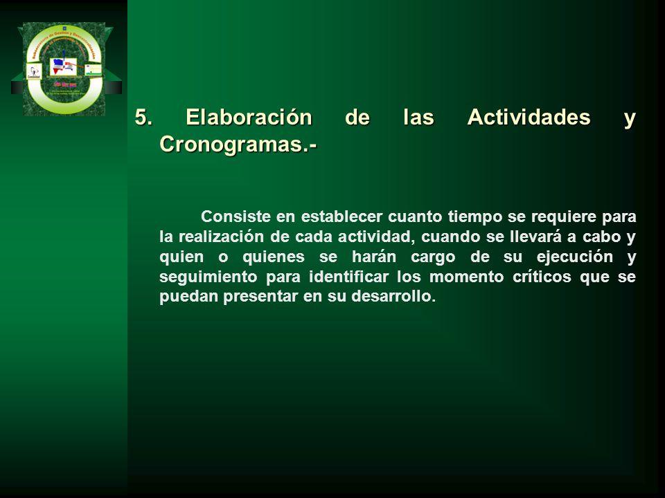 5. Elaboración de las Actividades y Cronogramas.-