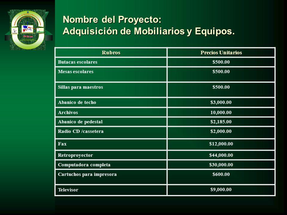 Adquisición de Mobiliarios y Equipos.