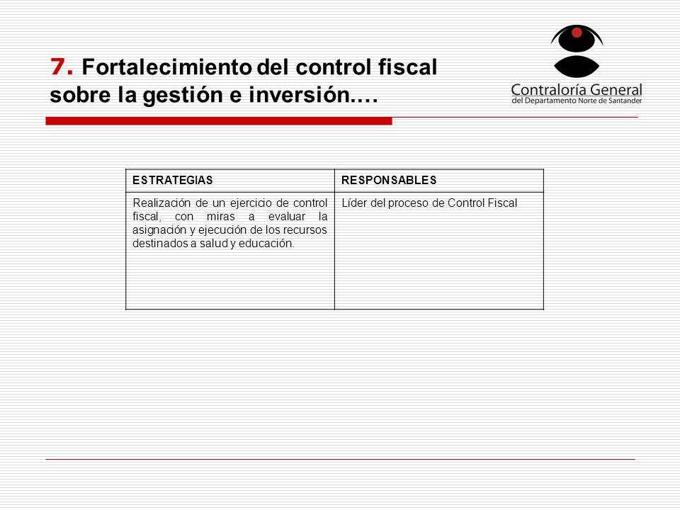7. Fortalecimiento del control fiscal sobre la gestión e inversión.…