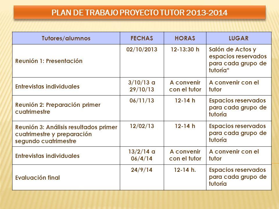PLAN DE TRABAJO PROYECTO TUTOR 2013-2014