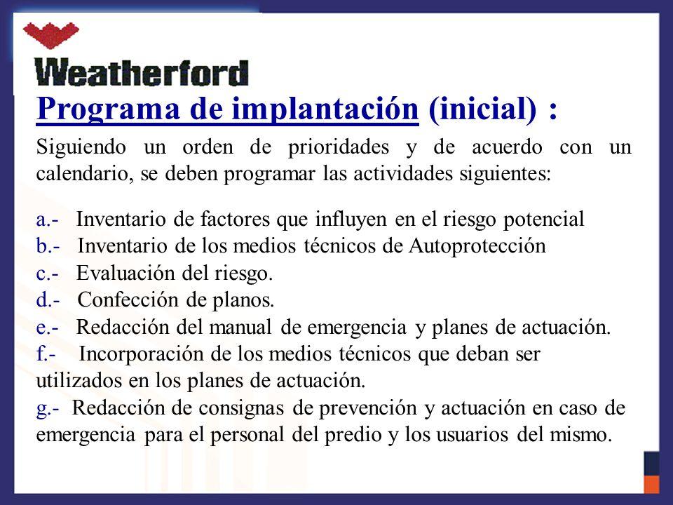 Programa de implantación (inicial) :
