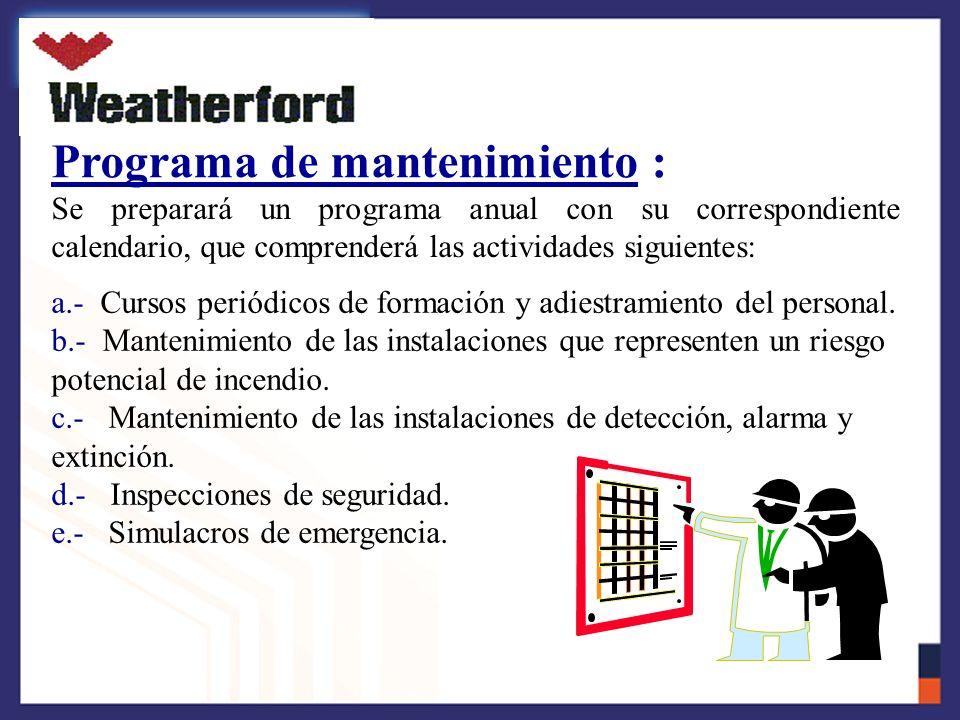 Programa de mantenimiento :