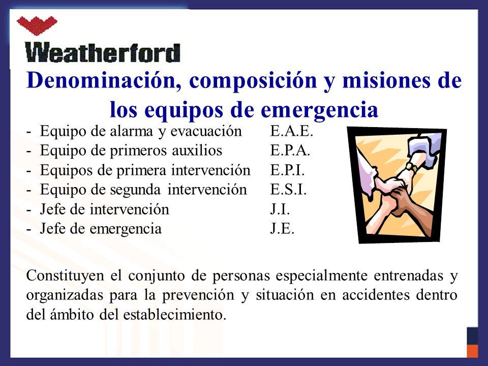 Denominación, composición y misiones de los equipos de emergencia
