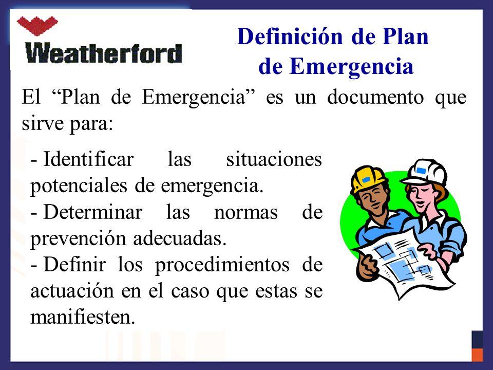Definición de Plan de Emergencia