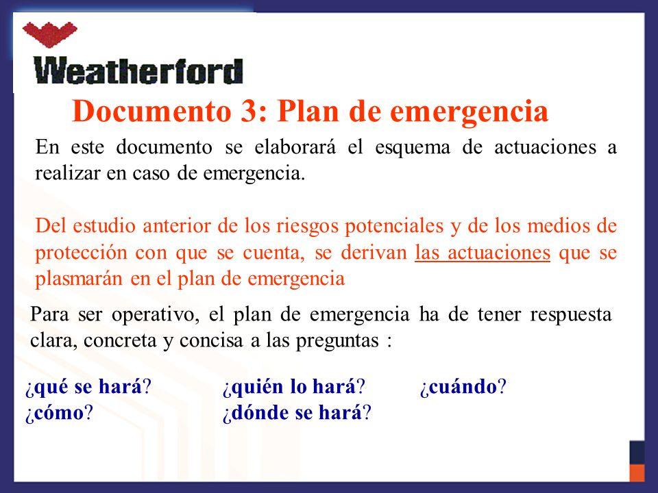 Documento 3: Plan de emergencia