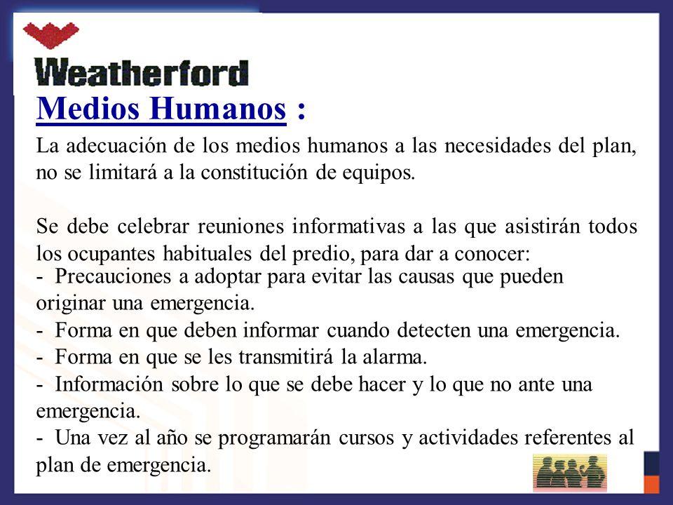 Medios Humanos : La adecuación de los medios humanos a las necesidades del plan, no se limitará a la constitución de equipos.