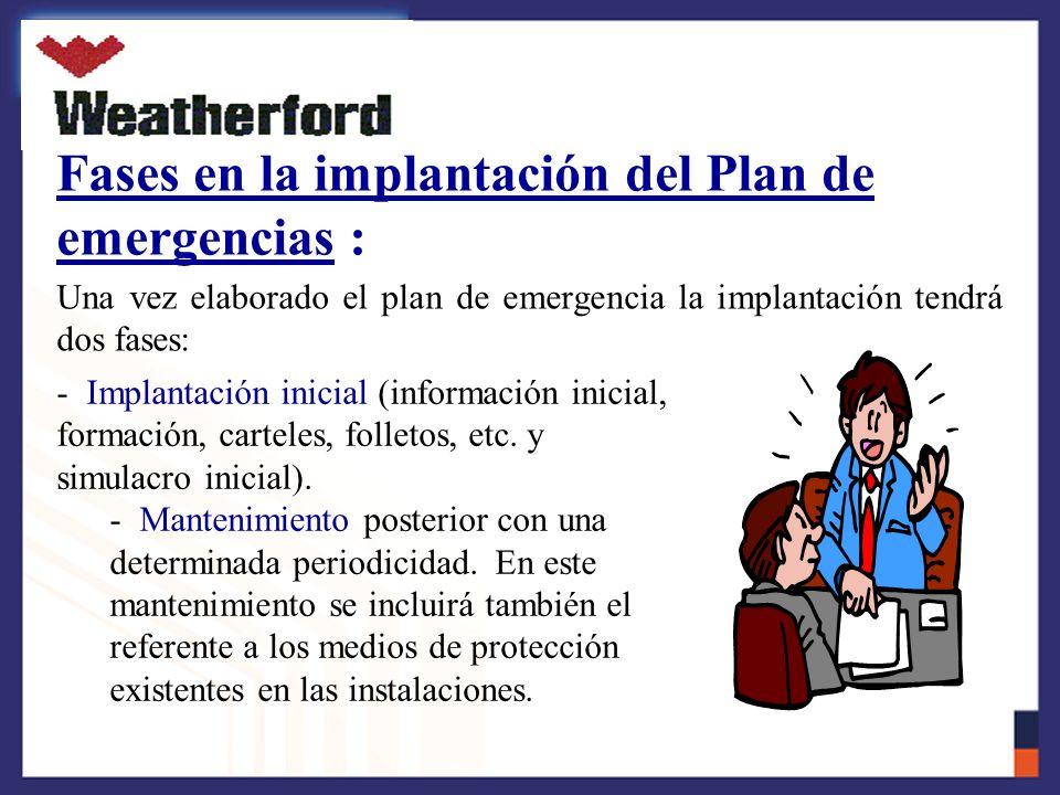 Fases en la implantación del Plan de emergencias :
