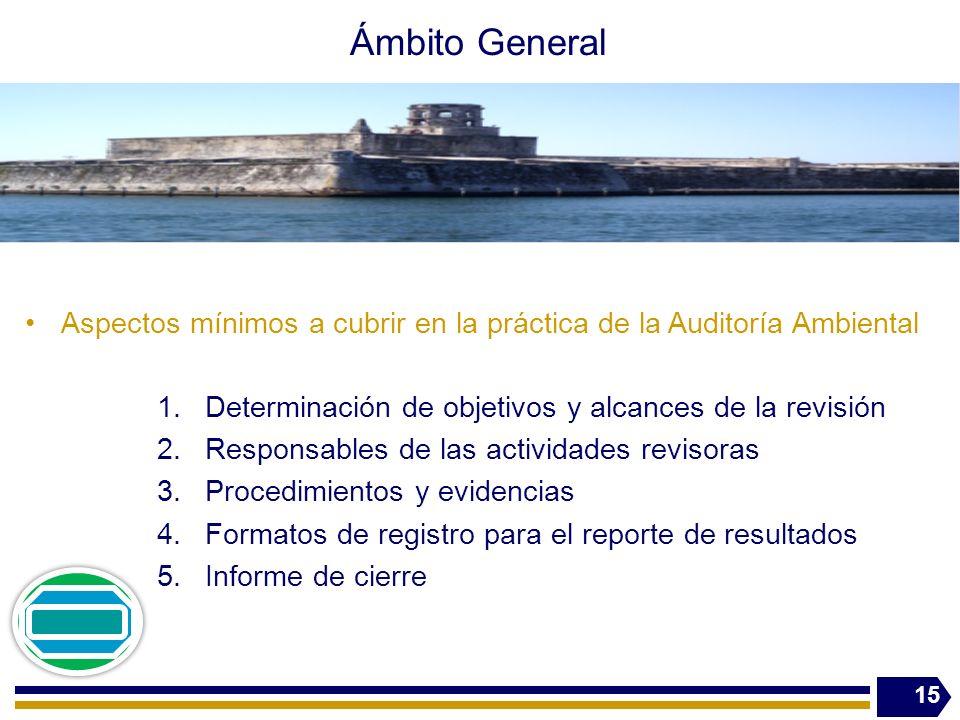 Ámbito General Aspectos mínimos a cubrir en la práctica de la Auditoría Ambiental. Determinación de objetivos y alcances de la revisión.
