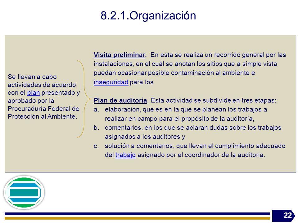 8.2.1.Organización Se llevan a cabo actividades de acuerdo con el plan presentado y aprobado por la Procuraduría Federal de Protección al Ambiente.