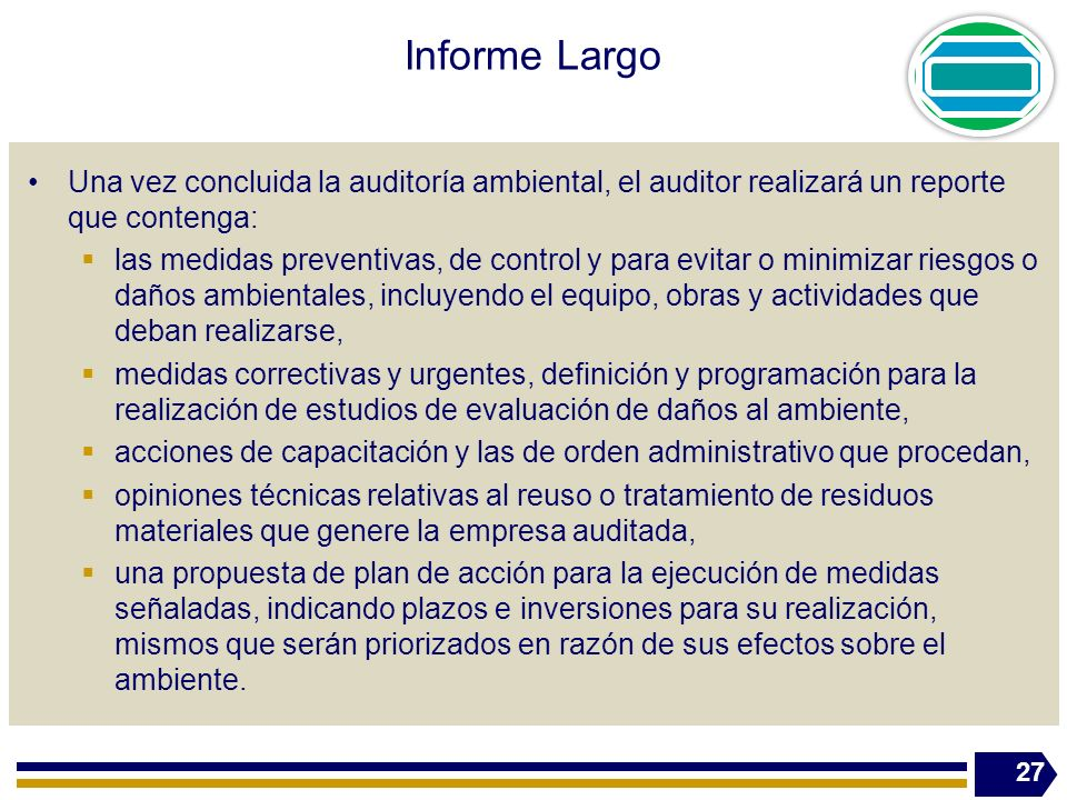 Informe Largo Una vez concluida la auditoría ambiental, el auditor realizará un reporte que contenga: