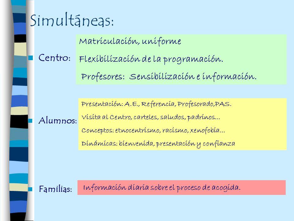 Simultáneas: Matriculación, uniforme
