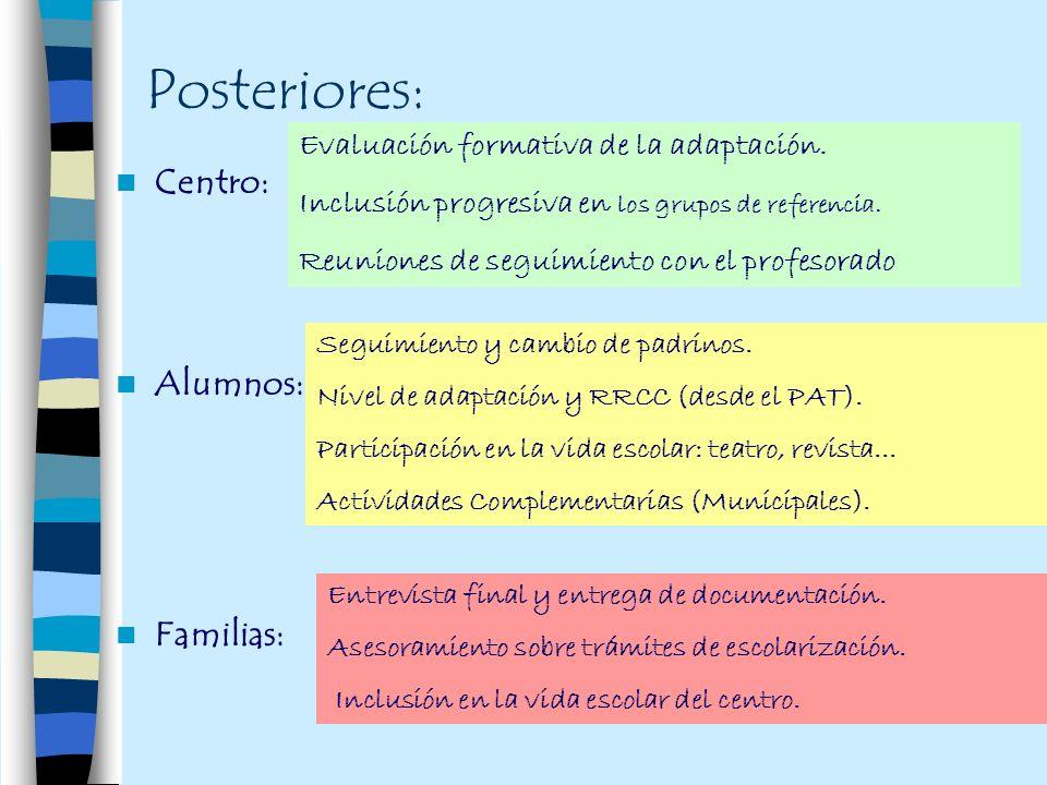 Posteriores: Centro: Alumnos: Familias: