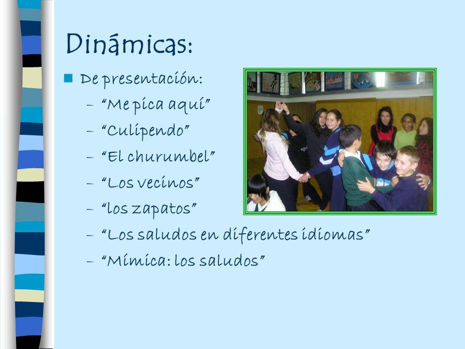 Dinámicas: De presentación: Me pica aquí Culipendo El churumbel