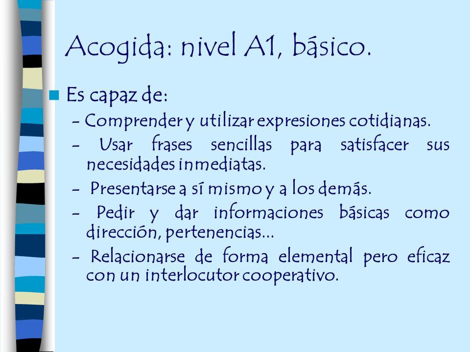 Acogida: nivel A1, básico.