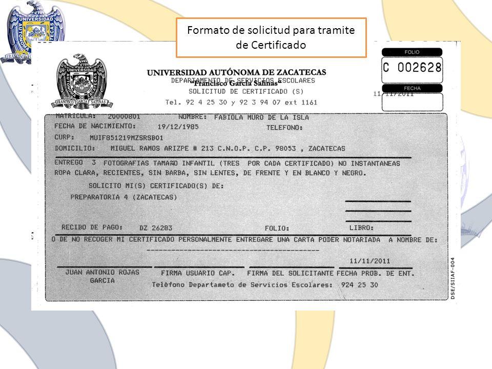 Formato de solicitud para tramite de Certificado