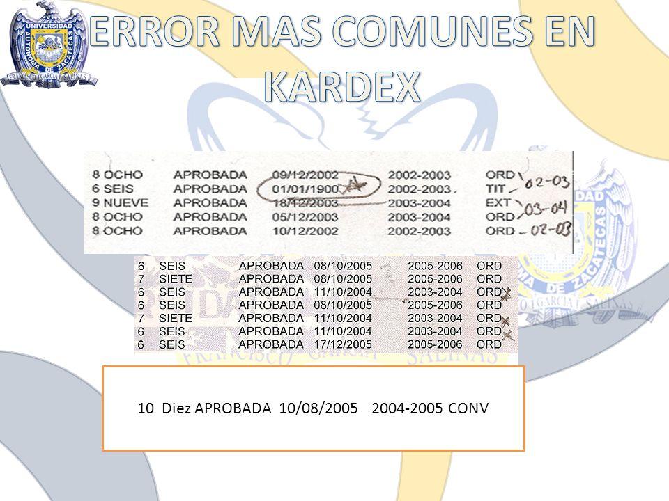 ERROR MAS COMUNES EN KARDEX