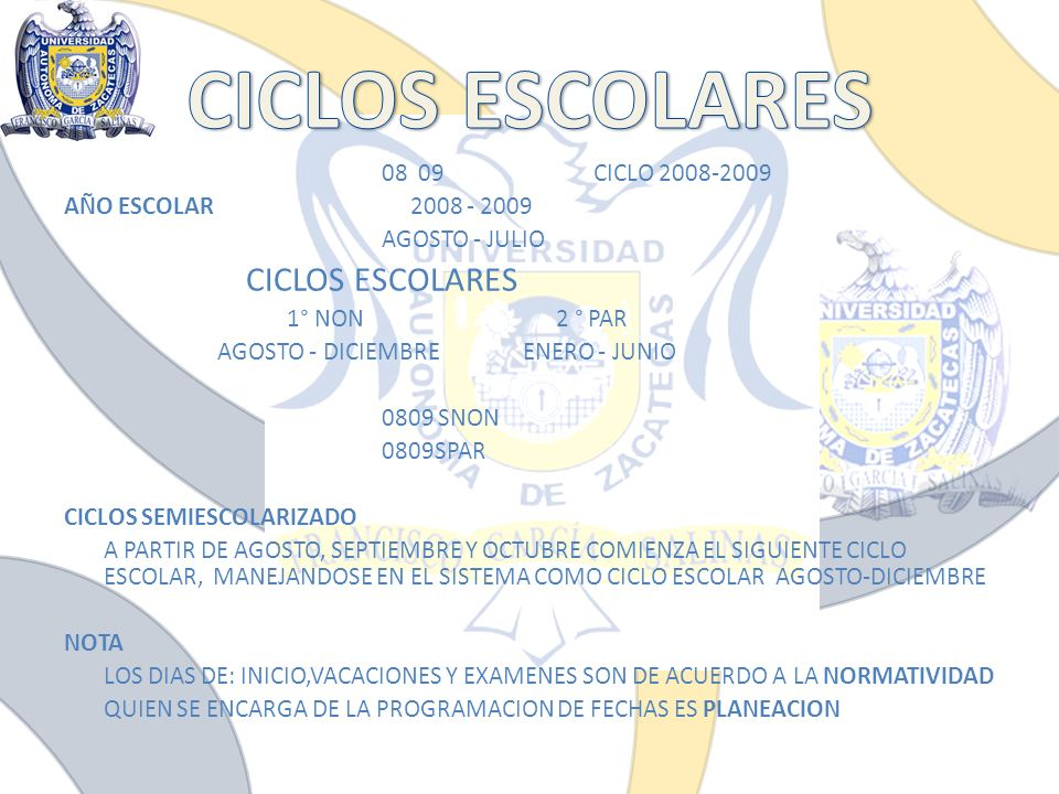 CICLOS ESCOLARES AÑO ESCOLAR 2008 - 2009 AGOSTO - JULIO