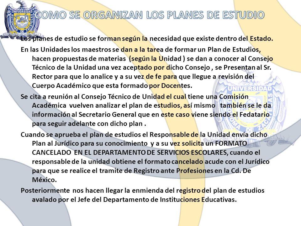 COMO SE ORGANIZAN LOS PLANES DE ESTUDIO