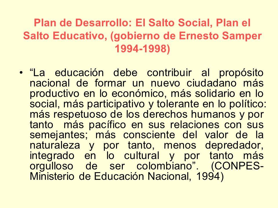 Plan de Desarrollo: El Salto Social, Plan el Salto Educativo, (gobierno de Ernesto Samper 1994-1998)