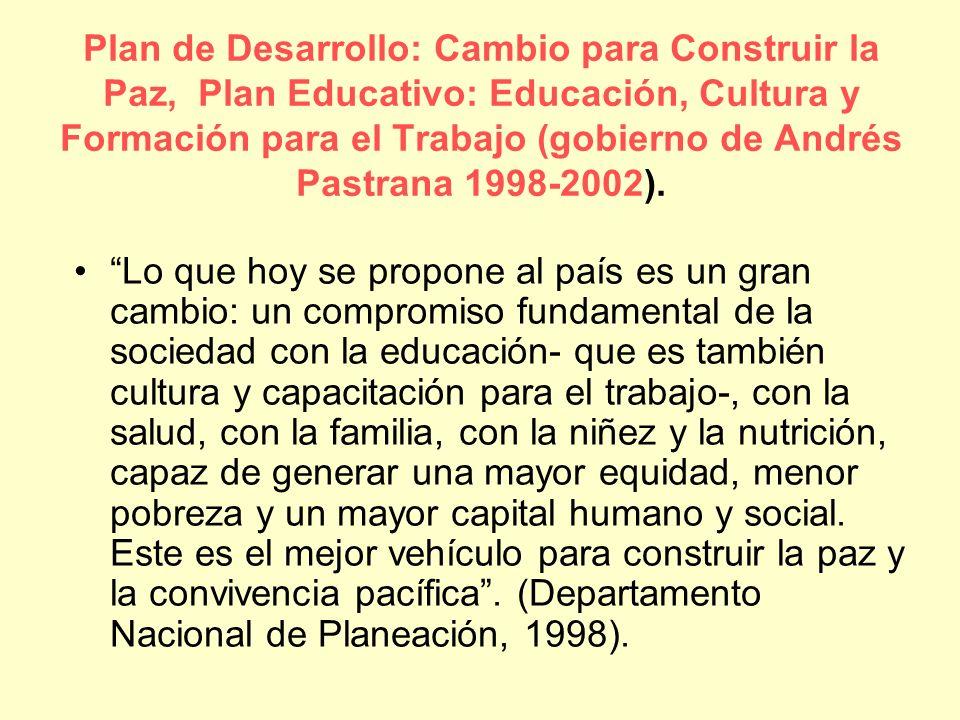 Plan de Desarrollo: Cambio para Construir la Paz, Plan Educativo: Educación, Cultura y Formación para el Trabajo (gobierno de Andrés Pastrana 1998-2002).