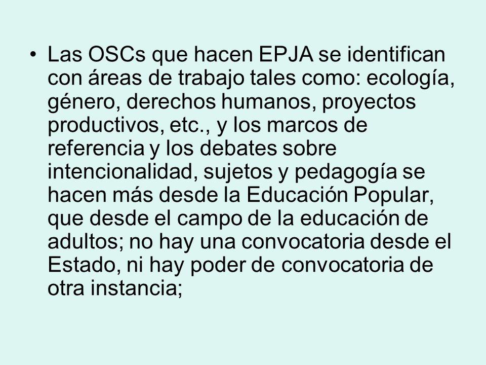 Las OSCs que hacen EPJA se identifican con áreas de trabajo tales como: ecología, género, derechos humanos, proyectos productivos, etc., y los marcos de referencia y los debates sobre intencionalidad, sujetos y pedagogía se hacen más desde la Educación Popular, que desde el campo de la educación de adultos; no hay una convocatoria desde el Estado, ni hay poder de convocatoria de otra instancia;