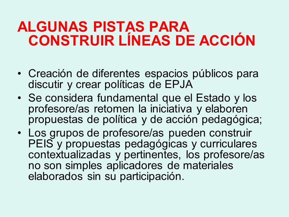 ALGUNAS PISTAS PARA CONSTRUIR LÍNEAS DE ACCIÓN
