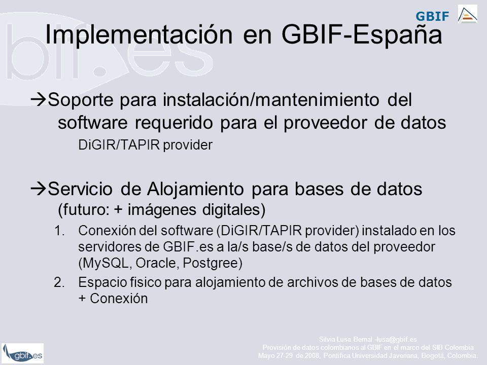 Implementación en GBIF-España