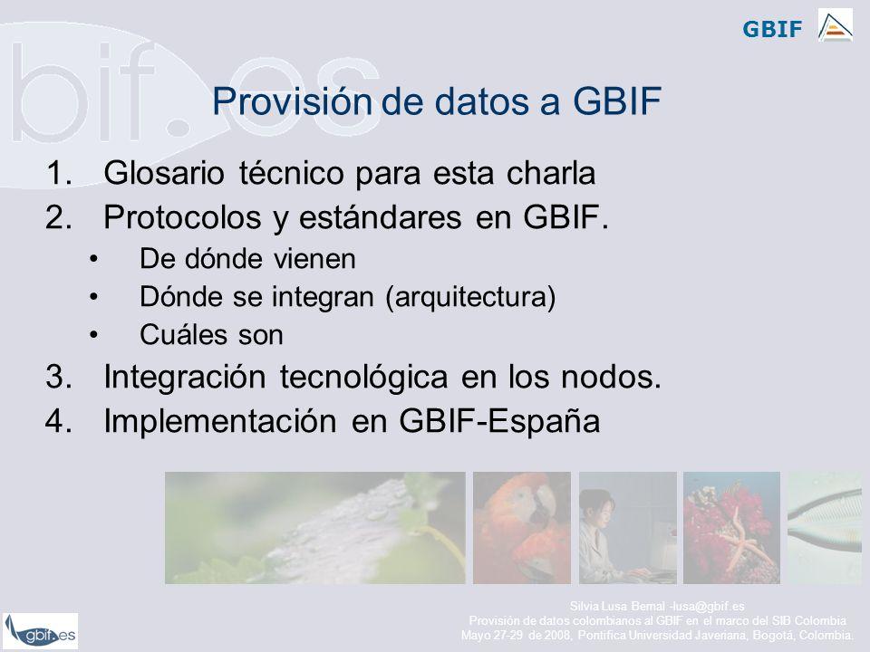 Provisión de datos a GBIF