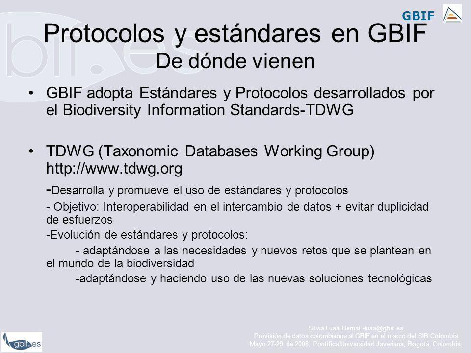 Protocolos y estándares en GBIF De dónde vienen