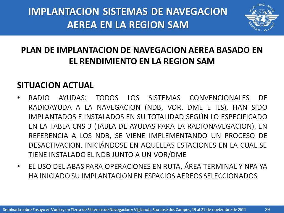 IMPLANTACION SISTEMAS DE NAVEGACION AEREA EN LA REGION SAM