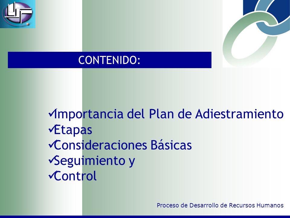Importancia del Plan de Adiestramiento Etapas Consideraciones Básicas