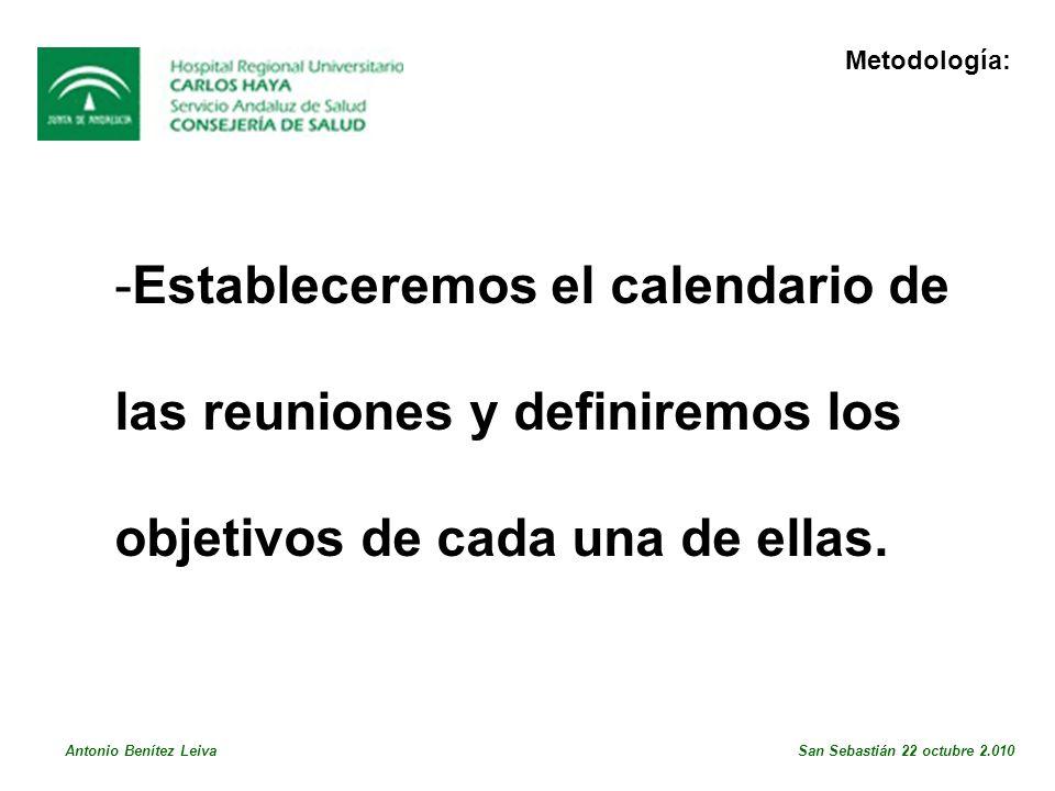Estableceremos el calendario de las reuniones y definiremos los