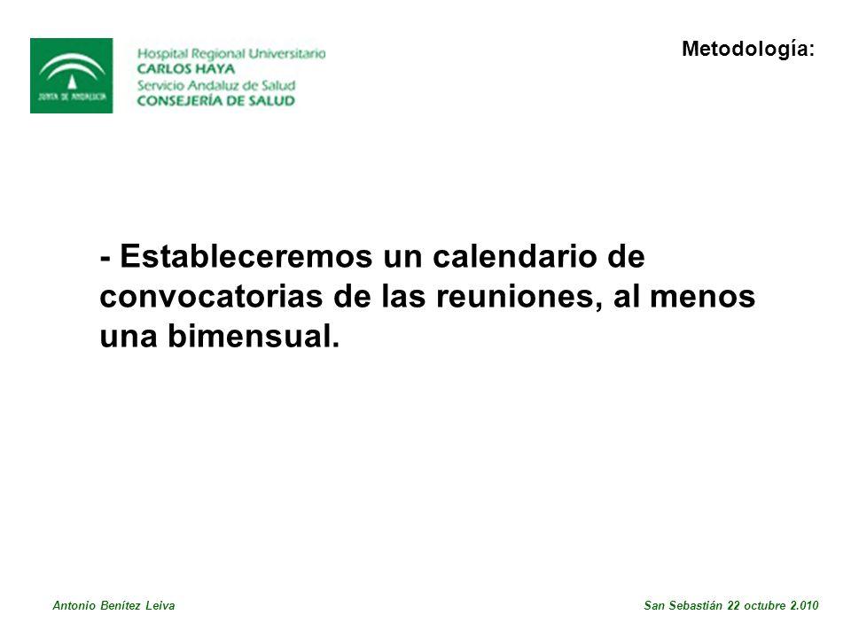 Metodología: - Estableceremos un calendario de convocatorias de las reuniones, al menos una bimensual.