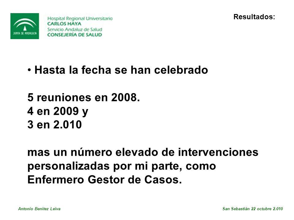 Resultados: • Hasta la fecha se han celebrado. 5 reuniones en 2008. 4 en 2009 y. 3 en 2.010.