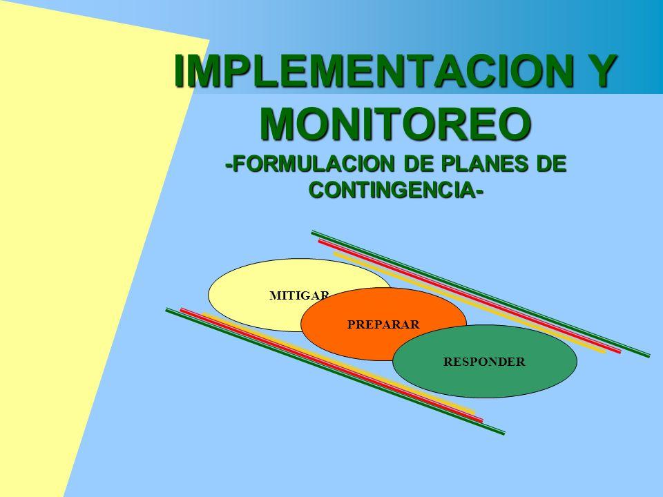 IMPLEMENTACION Y MONITOREO -FORMULACION DE PLANES DE CONTINGENCIA-