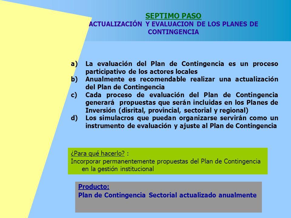 SEPTIMO PASO ACTUALIZACIÓN Y EVALUACION DE LOS PLANES DE CONTINGENCIA