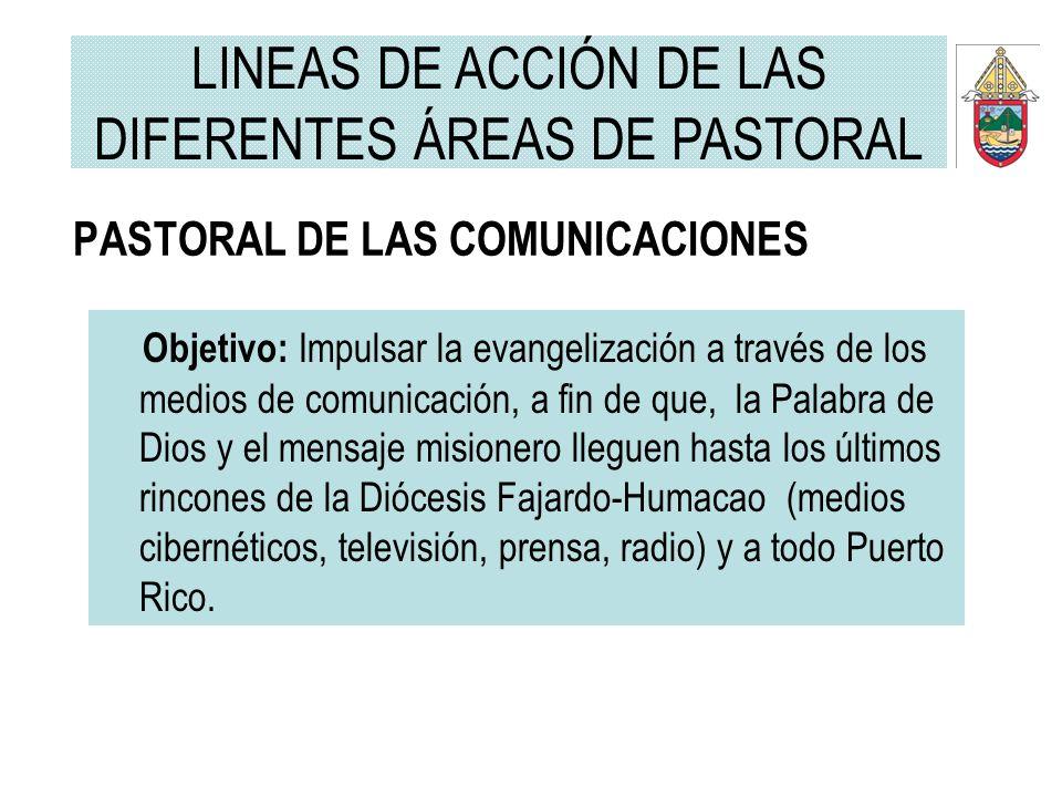 LINEAS DE ACCIÓN DE LAS DIFERENTES ÁREAS DE PASTORAL