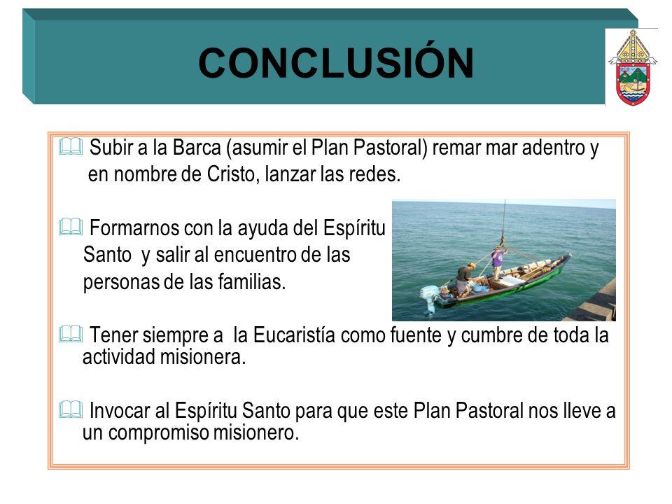 CONCLUSIÓNSubir a la Barca (asumir el Plan Pastoral) remar mar adentro y. en nombre de Cristo, lanzar las redes.
