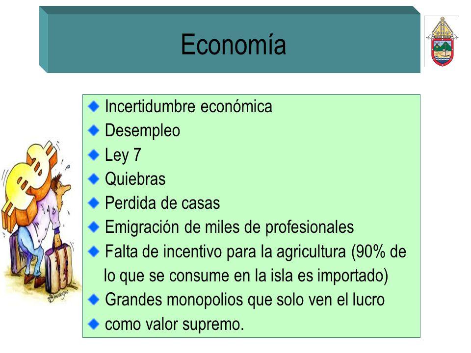Economía Incertidumbre económica Desempleo Ley 7 Quiebras